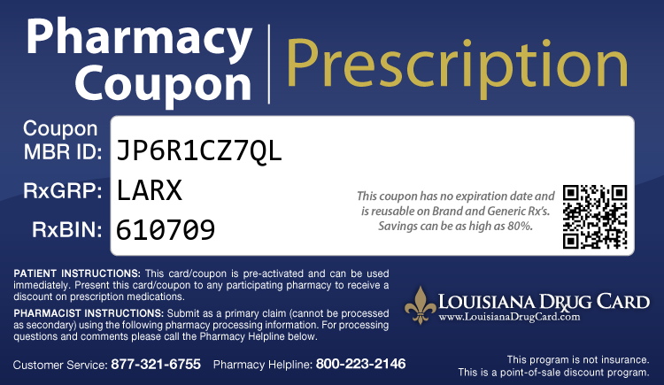 Louisiana Drug Card - Free Prescription Drug Coupon Card